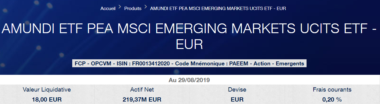 Meilleur ETF émergent PEA Amundi MSCI Emerging Markets PAEEM