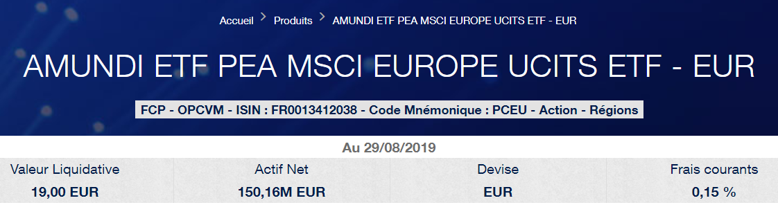 Meilleur ETF Europe PEA Amundi MSCI Europe