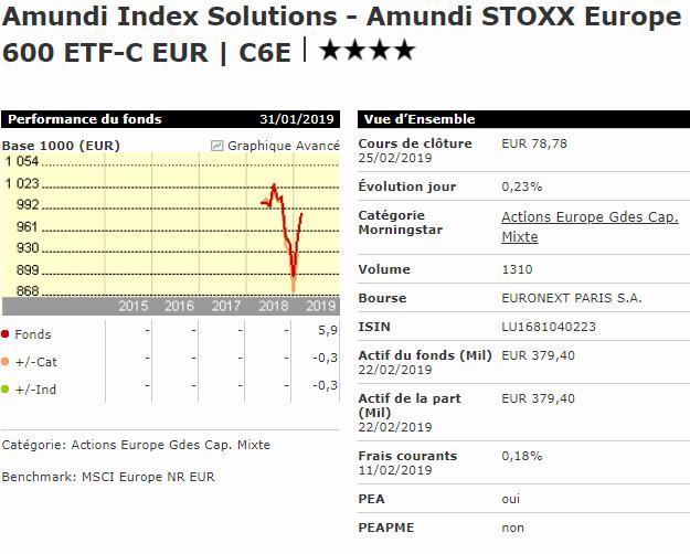 Meilleur ETF Europe PEA Amundi Stoxx Europe 600 C6E