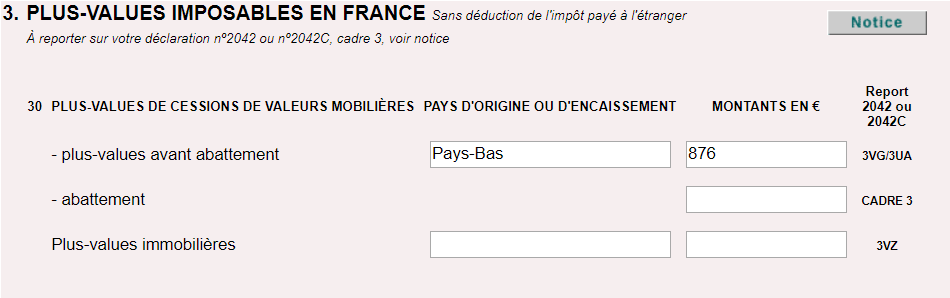 declaration impots plus value bourse 2047