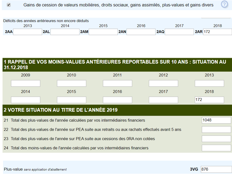 declaration impots plus values bourse 2074 2